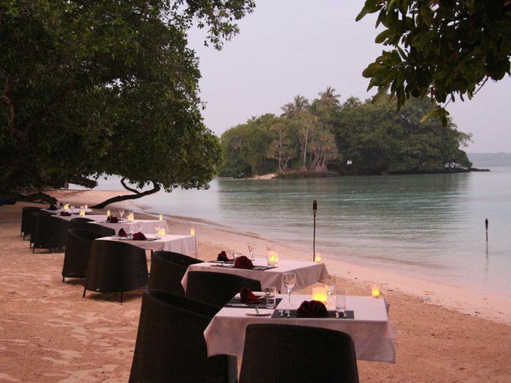 Romantic sunset dining at Moyyan House By The Sea, Vanuatu