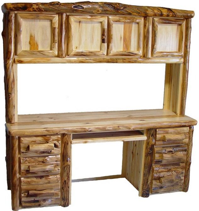 Aspen Log Office Furniture Aspen Log Desk And Hutch
