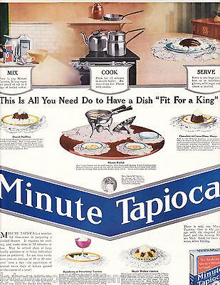 MINUTE TAPIOCA MIX COOK SERVE VINTAGE GRAPHIC ADVERTISING POSTER PRINT