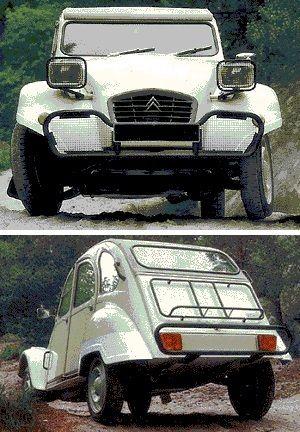 Citroën 2CV 'Kit Aventure': pare-chocs avant tubulaire avec grilles de protection, ensemble de protection plastique pour la découpe des ailes avant et arrière, porte bagage arrière 'véronique' sur porte de coffre, ensemble de quatre poignées extérieures sur caisse, protection grillagée des phares