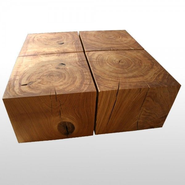 Impressive Solid Wood Block Coffee Table Oiled Oak