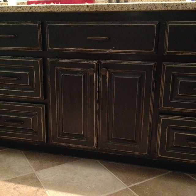 Distressed black cabinets cabinets pinterest in for Distressed kitchen cabinets