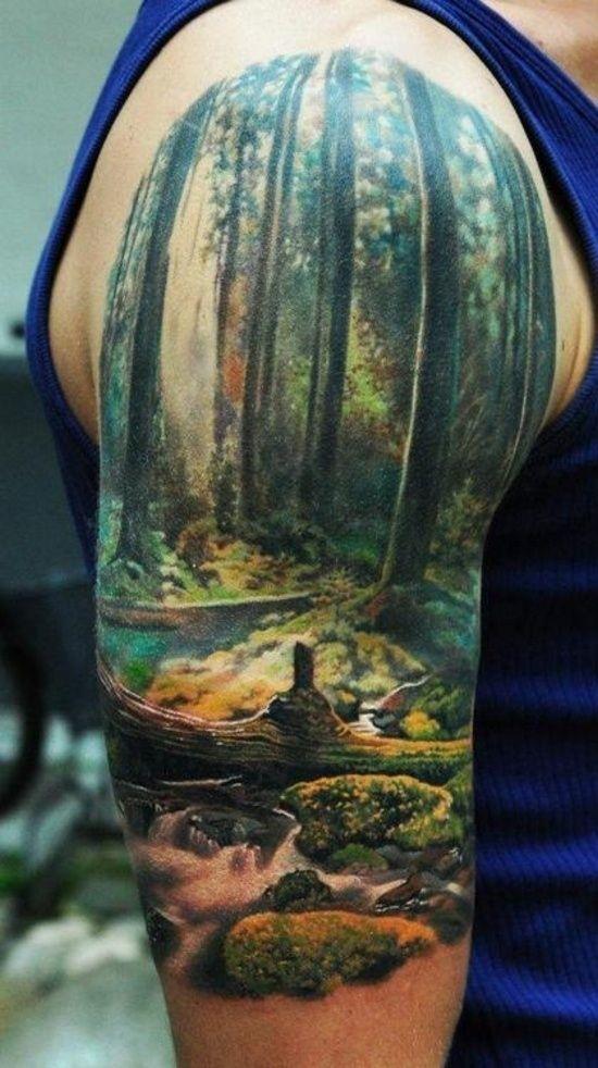 tatouage arbres forêt 3d épaule homme