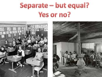 "Integrating schools was the first major step for equal rights among races because it caused hope for equality and a starting place for civil rights. Before an actual organization or idea for civil rights or equality, the country used the 14th amendment to say that everyone had ""equal"" status as US citizens. But this was most definitely not true, especially in the South. Some laws actually inhibited people of color. These were known as ""Jim Crow Laws""."