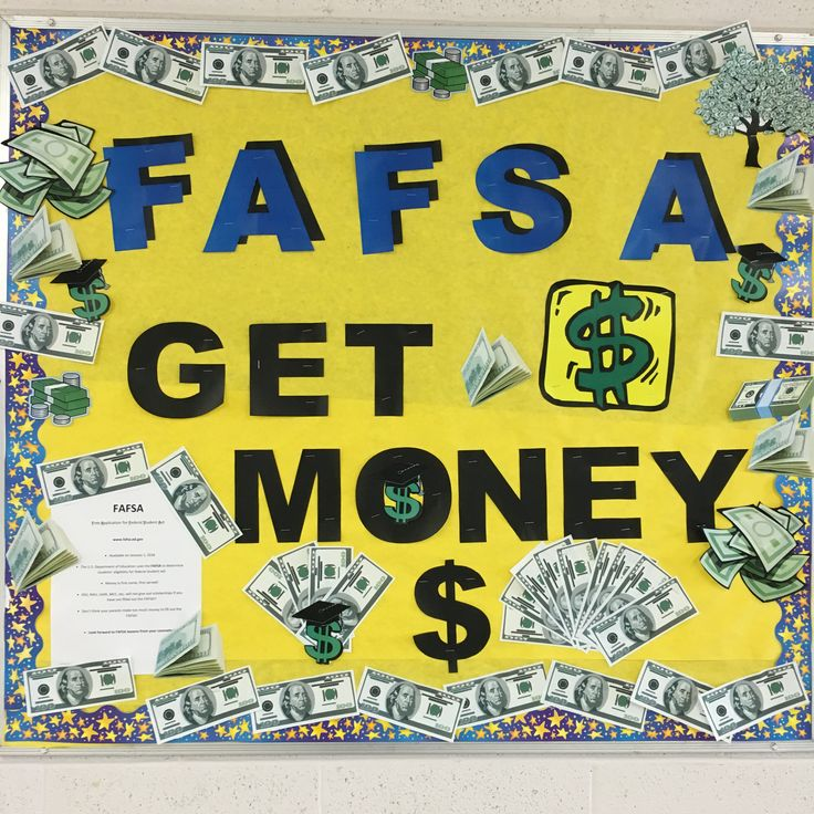 FAFSA bulletin board for high school counseling office