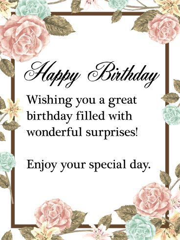 Enjoy Your Special Day Happy Birthday Wishes Card This beautiful