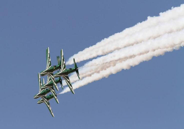 The Saudi Hawks display team, flying BAE Hawk trainers.