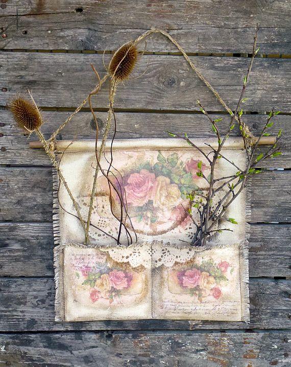 Ткань Организатор Шебби шик Кантри деревенский цветок стены декор стены вися Домашний детский сад винтажный Стиль ручной работы Текстильная