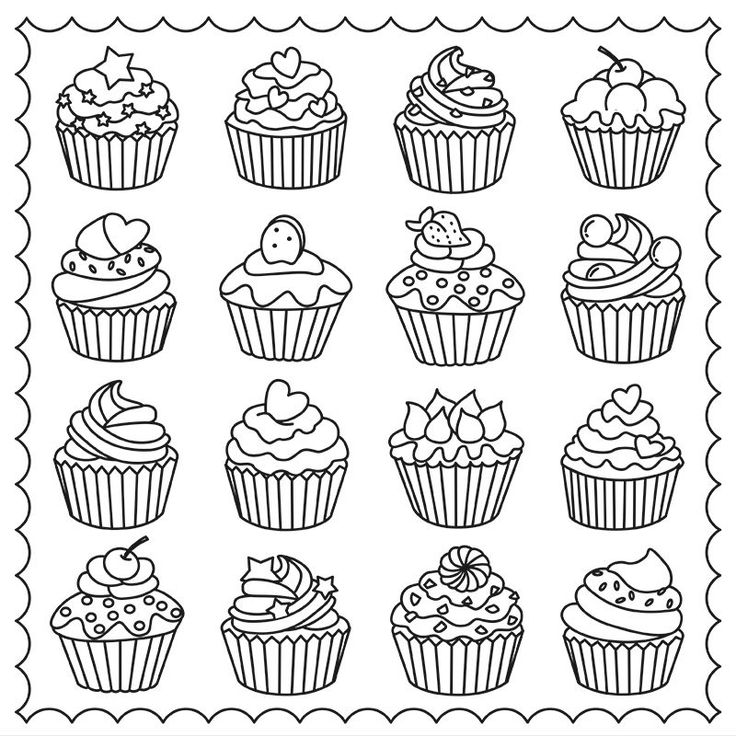 Cupcakes Colouring Page ☕adult Colouring Coffee Tea