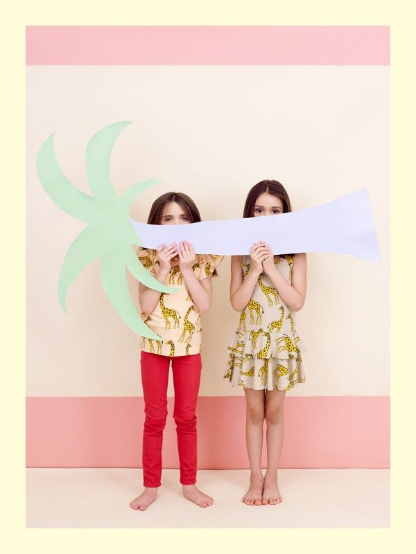 Kids Giraffe dresses by Mini Rodini whose summer collection was a wildlife wonderland, at Babesta summer 2014