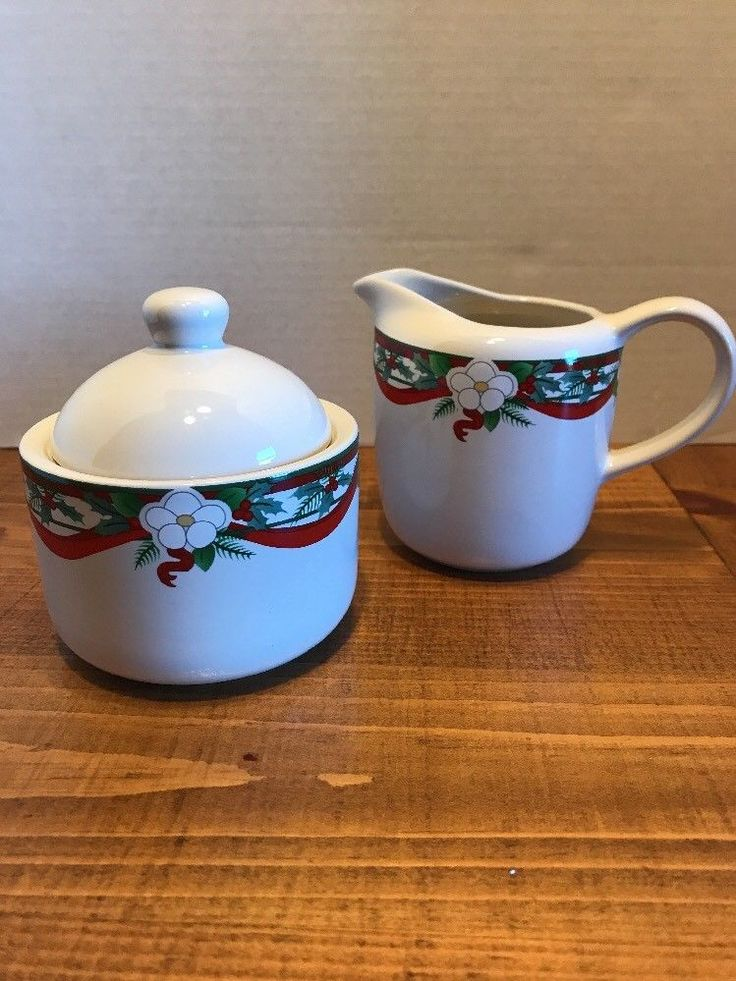 PFALTZGRAFF YULTIDE sugar Bowl And Creamer Set #Pgaltzgraff