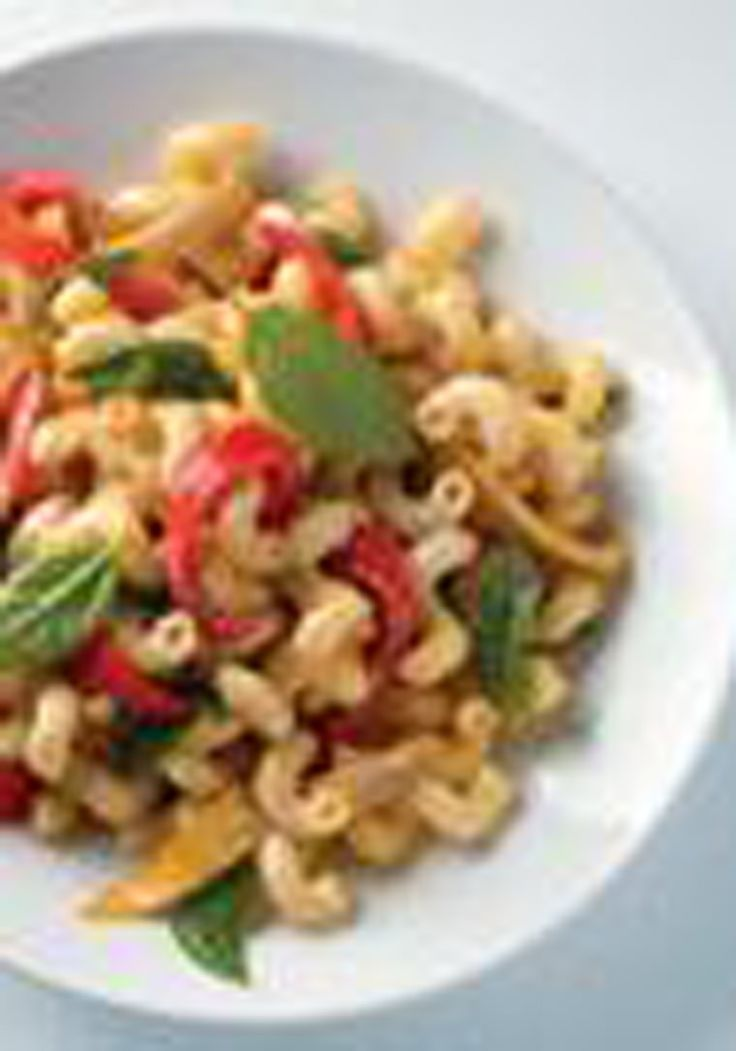 Roasted Vegetable Pasta Salad — Garden vegetables are roasted 'til crisp-tender and then tossed with a creamy dressing and fresh basil in this warm pasta salad.