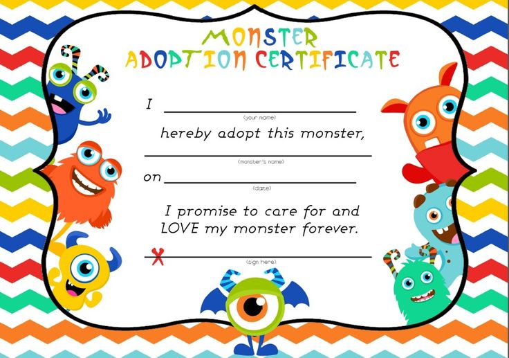 Monster adoption certificate