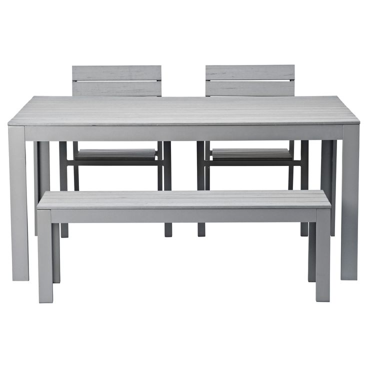 FALSTER Table, 2 Chairs And Bench, Outdoor, Gray