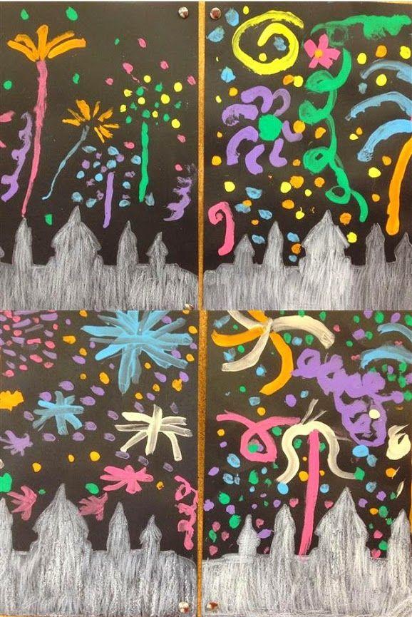 Focs artificials - La Mercè Material: cartolina, pintura, colors Nivell: Infantil 2014/15