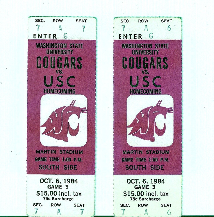 My Old Ticket Stubs from WSU Football !984!!