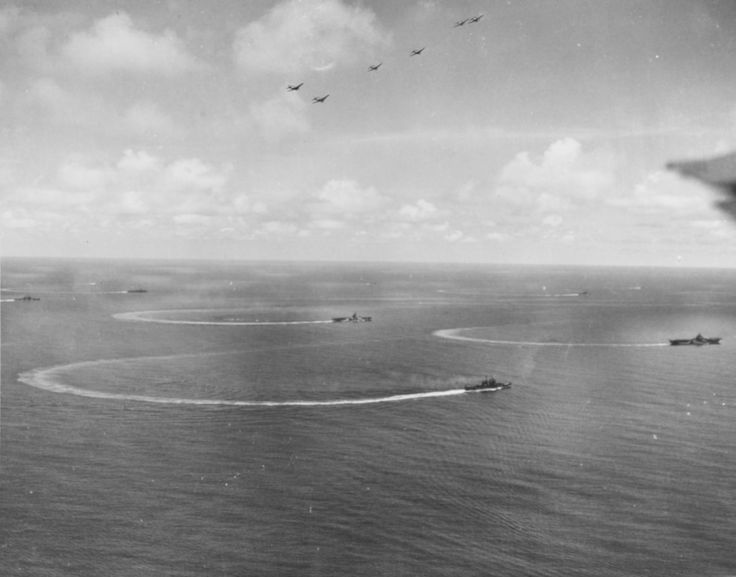 Rear Admiral J.J. Clark's task group 58.1 reverses course, during attacks on Yap, 28 July 1944 [3600 x 2825]