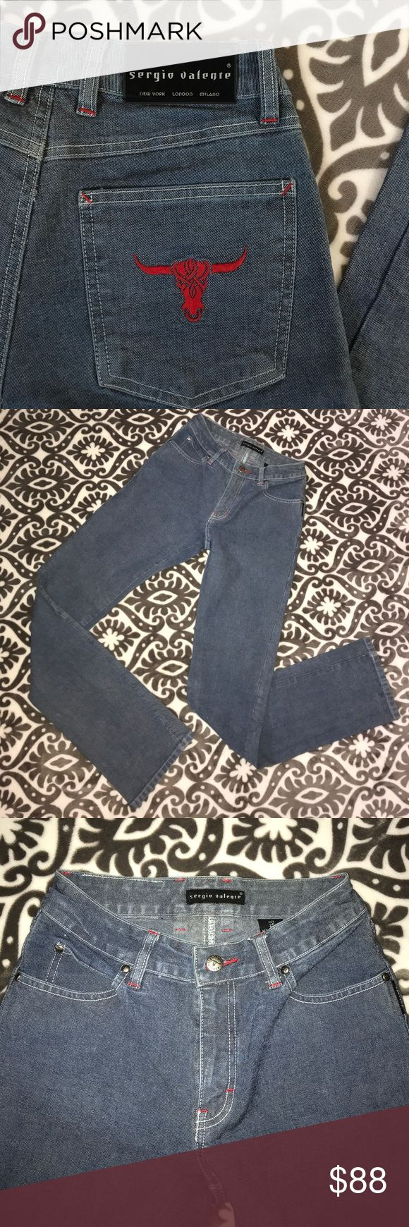 VINTAGE SERGIO VALENTE JEANS 🚨 Ultra Rare Retro Vintage 🚨 Sergio Valente Light Wash Straight Leg / Slight Boot Cut Jeans with red accent stitching & signature Bull on right back pocket as well as double stripe detailing on inside ankle for extra style when cuffed SIZE 25 (XS-S / 0-2) INSEAM: 34 inches (brand runs long to allow for customized length) 96% COTTON 4% LYCRA SPANDEX Gives a little stretch Sergio Valente Jeans
