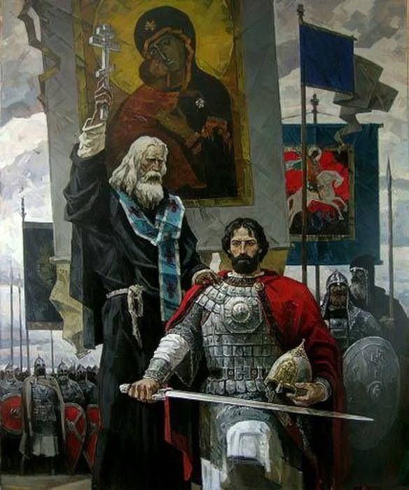 Image:: Serge of Radonezh blesses Grand Duke Dmitry Donskoy to defend Russia, by Yuri Pantukhin. || Serge of Radonezh (1314-92) was a spiritual leader, monk and monastic reformer of medieval Russia. Together with Venerable Seraphim of Sarov, he is one of the Russian Orthodox Church's most highly venerated saints. The legend says he blessed Dmitry Donskoy when he went to fight the Tatars – but only after he was certain Dmitry had pursued all peaceful means of resolving the conflict.