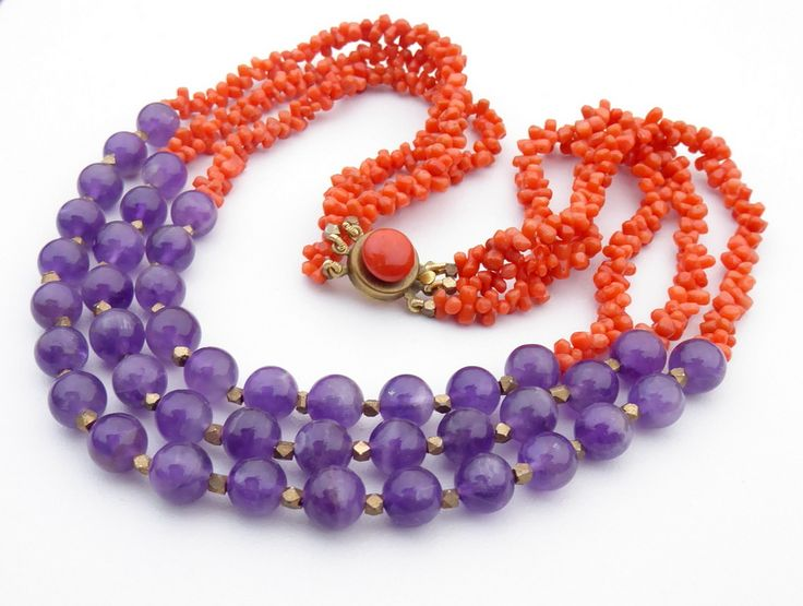 Vintage+Coral+&+Amethyst+Necklace, £110.00
