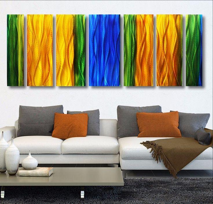 Wavelength XL - Massive Colorful Handpainted Abstract Metal Wall Art  | metal wall art | large art | interior design | modern art | modern | beautiful | #metalwallart #interiordesign https://www.statements2000.com/