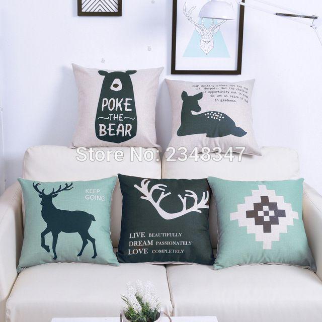 Scandinavian Nordic Style Deer Elk Geo Linen Burlap Decorative Pillow Case Covering Sofa Seat Car Throw Cushion Cover Green