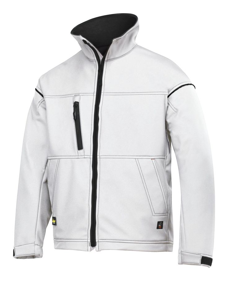 Show your #painting skills with a bold logo on this white soft shell jacket. It fits comfortably when you're working and offers plenty of room for company profiling. Complete your #painters outfit. - Snickers Workwear Artnr. 1211