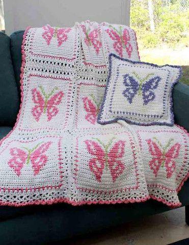 Imagen de la mariposa afgano y Patrón Pillow Set de ganchillo