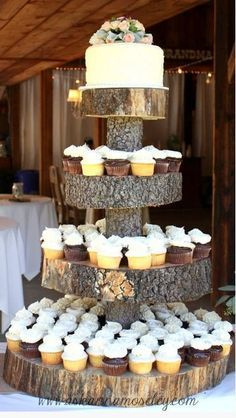 rustic cup cake wedding cakes | really cute leaf and pine cone icing details with character