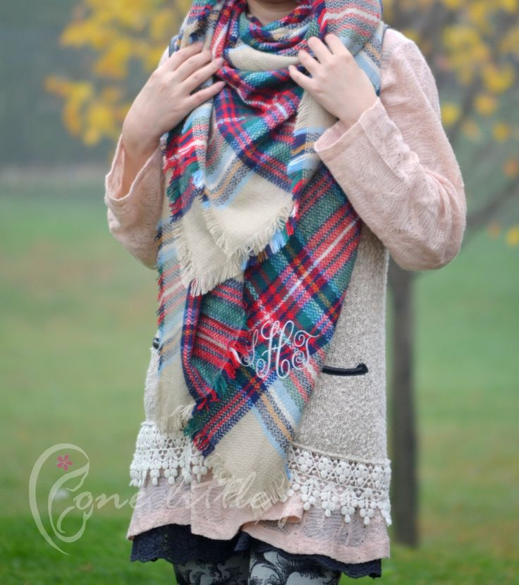 Blanket Scarf gift for her blanket scarf monogram winter scarf personalized gifts blanket scarf plaid blanket scarf tartan wool sc01 #Etsy #Share #AyuJewelryShare #EtsyShop #MSMTeam