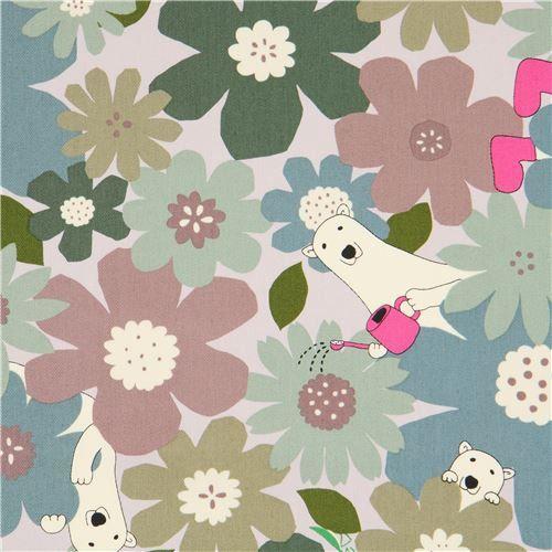 Tessuto floreale - tessuto grigio twill orsi polari fiori dal  - un prodotto unico di modes4u su DaWanda