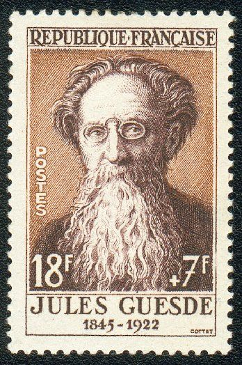 Jules Bazile, known as Jules Guesde (1845 – 1922) was a French socialist journalist and politician.  Stamp printed in France, circa 1957