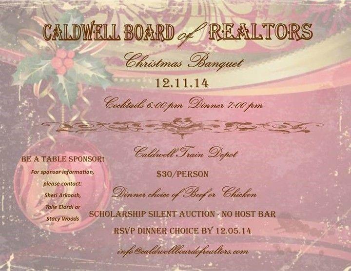 Real Estate, Caldwell Board of Realtors Caldwell, ID Blog Christmas Banquet this Thursday at Caldwell Train Depot!