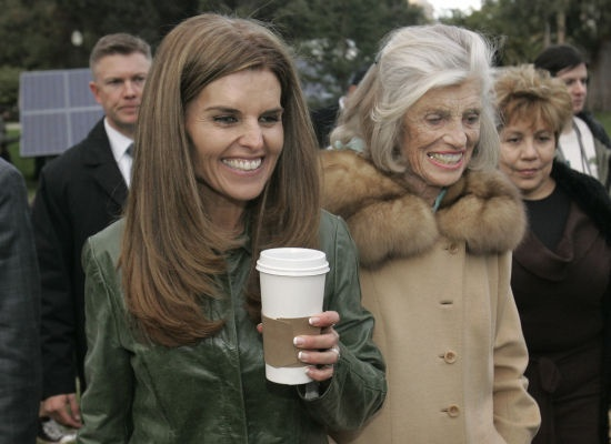 Maria Shriver and her mother leave the inaugural kick-off in Sacramento on Jan. 4, 2007.