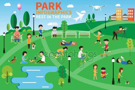 Odpoczynek w parku infografiki elementów, ludzi o działaniach — Ilustracja stockowa #109790712