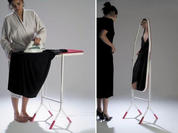 As long as the mirror doesn't get hurt by the heat of the iron, I love this idea.  [17 Multi-Purpose Furniture That Changes Function In No Time]