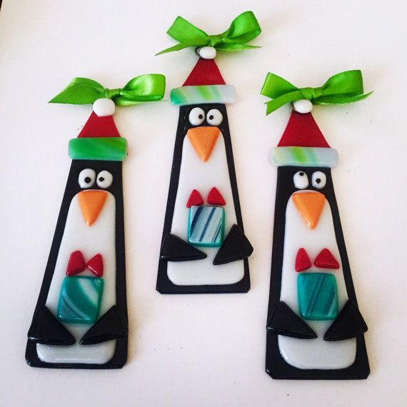 Fused Glass Ornaments-Trio of Penguins by Artglassbystraub on Etsy