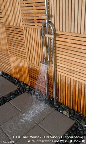Calazzo.com - OTTO Outdoor Showers - Wall Mount Dual Supply (Hot/Cold) with Integrated Foot Wash
