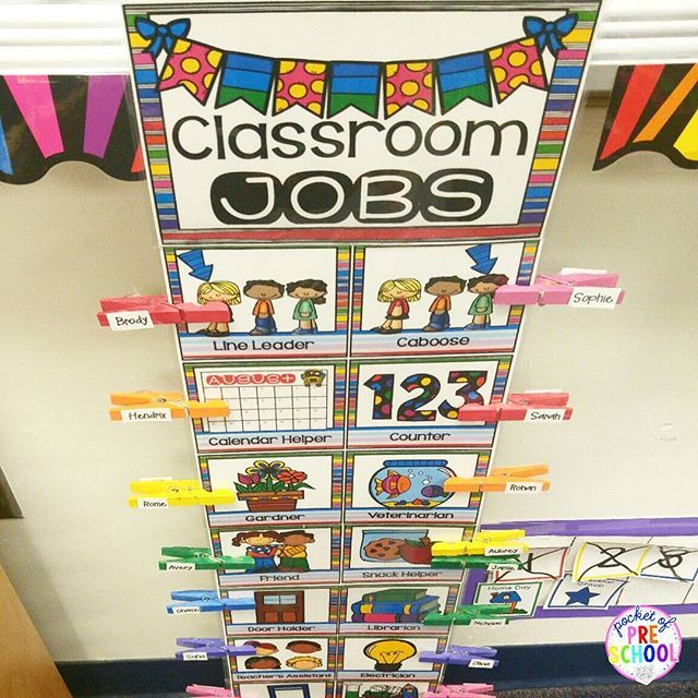 Classroom Job clip chart or my preschool classroom.Jobs give students ownership and build community in the classroom.
