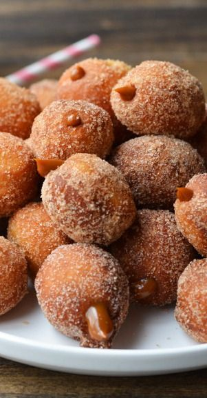 "Dulce de Leche Churro Donut Holes - I'm on a roll here, but I love Dulce de Leche, just ? the presentation - ( Sorry, it's late), haven't eaten and am ""Perpetually immature"" according to at least one of my children -"