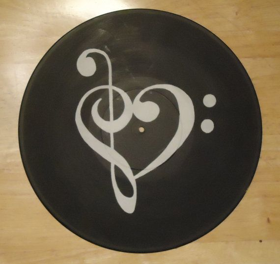 Treble and bass clef music heart painted vinyl record for Vinyl records arts and crafts