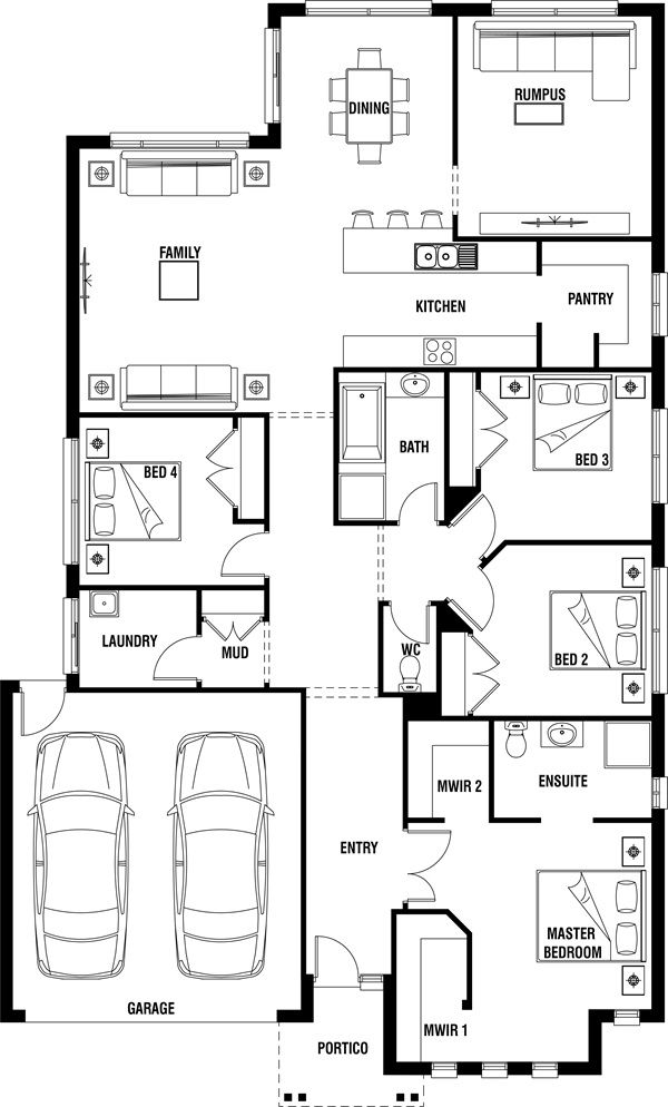 Lancaster 4 Bedroom Single Storey House Plan Porter Davis Single Storey House Plans Floor Plans House Design