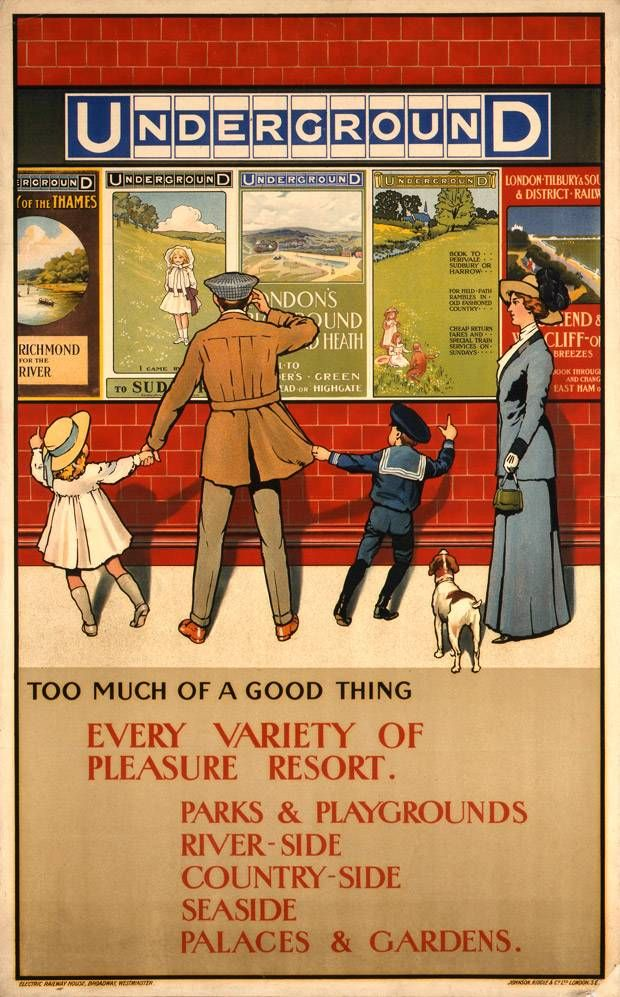 A 1910 poster illustrating Too much of a good thing, by John Henry Lloyd - London Evening Standard