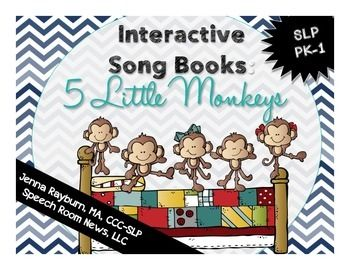 Interactive Song Book: 5 Little Monkeys from Speech Room News. Perfect for Nonverbal and early communicators in preschool!