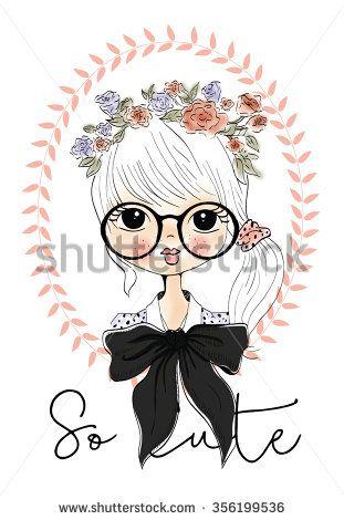 Vector Cute beautiful fashionable girl / romantic girl / design for children's…