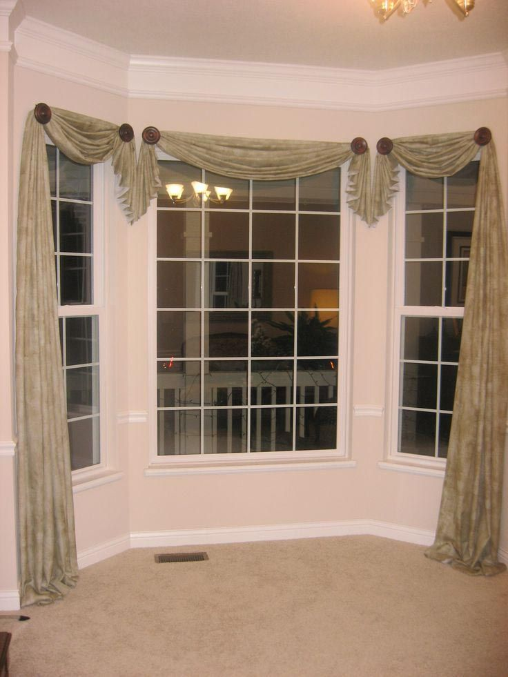 Sheer valance scarf ideas window treatments design for Arched bay windows