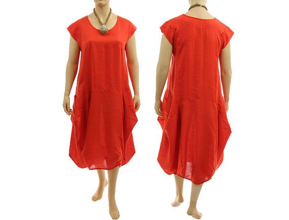 Boho linen maxi dress summer dress in red orange von classydress