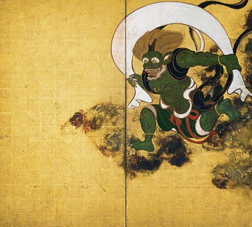 Tawaraya Sotatsu 国宝 風神雷神図屏風(右隻) 俵屋宗達筆 所蔵先 京都・建仁寺
