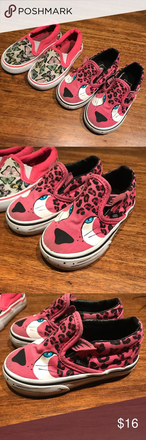 Vans and joe boxer slip-ons Used and loved with a lot of life left vans cheetah shoes and joe boxer butterfly slip-ons both size 6 (toddler) price is for both Vans Shoes Sneakers