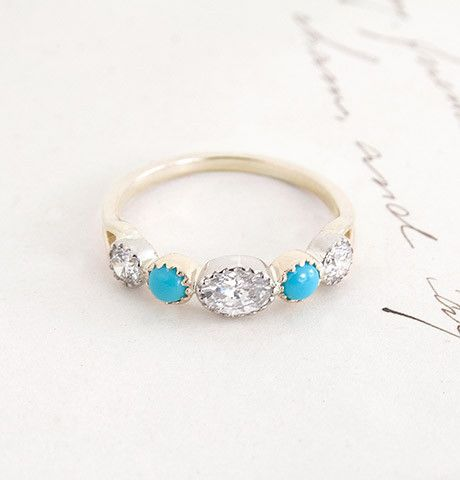 perfect. perfect. perfect. 18th century inspired turquoise and diamond Half Eternity Band.